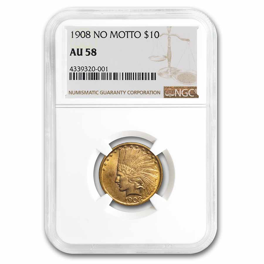 1908 $10 Indian Gold Eagle No Motto AU-58 NGC
