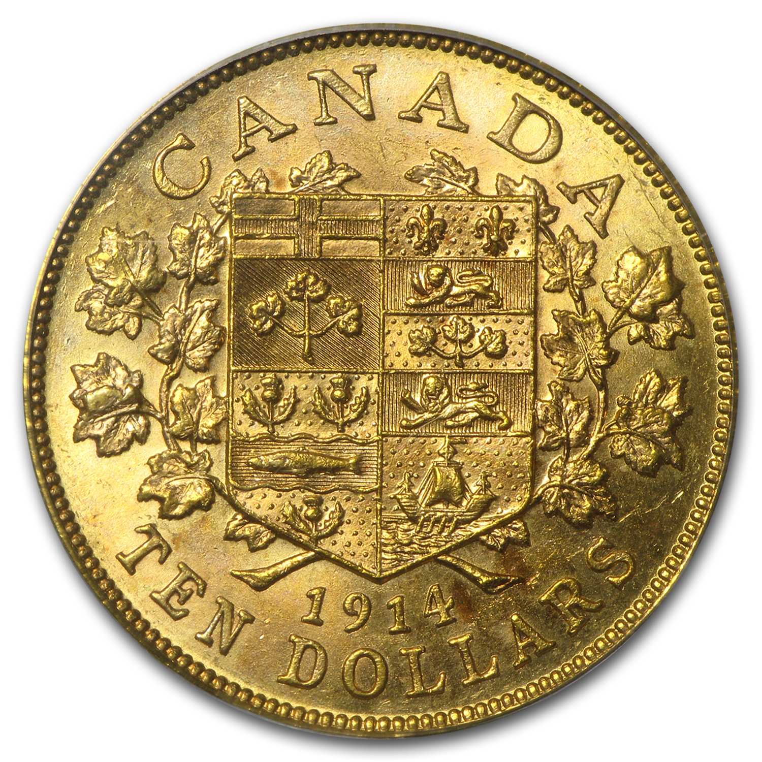 1914 Canada Gold $10 MS-61 PCGS (OGH)