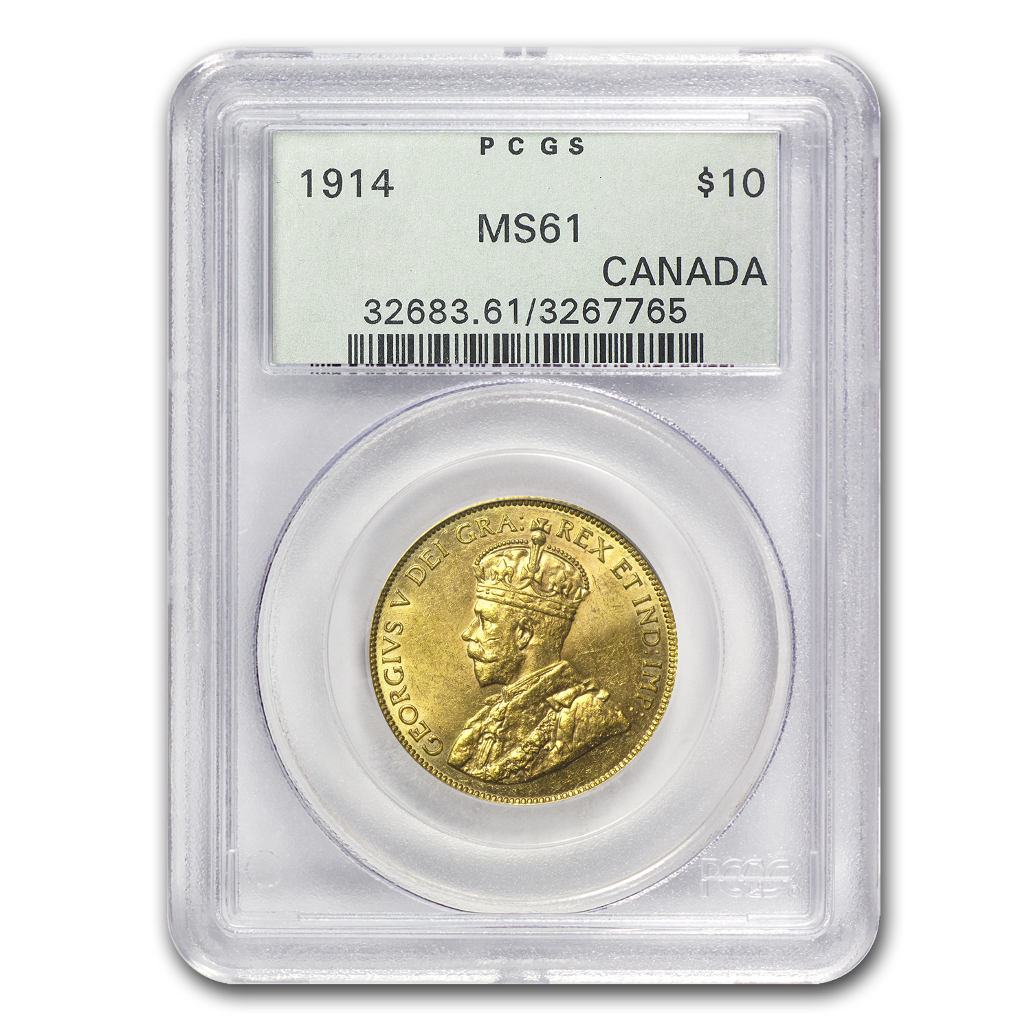 1914 Canada Gold $10 Reserve MS-61 PCGS (OGH)