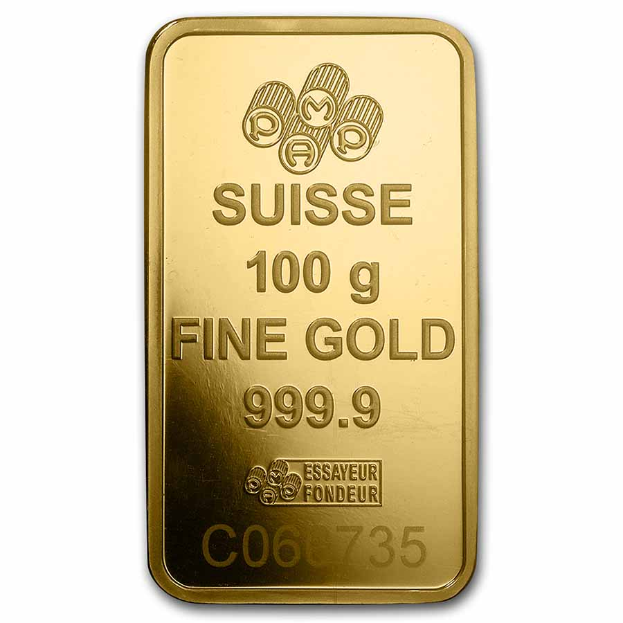 100 gram Gold Bar - PAMP Suisse Lady Fortuna Veriscan® (In Assay)