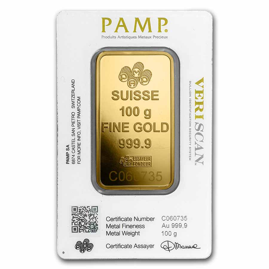 100 gram Gold Bar - PAMP Suisse Lady Fortuna Veriscan (In Assay)