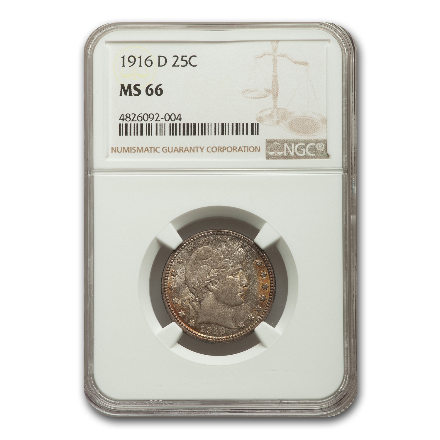 1916-D Barber Quarter MS-66 NGC