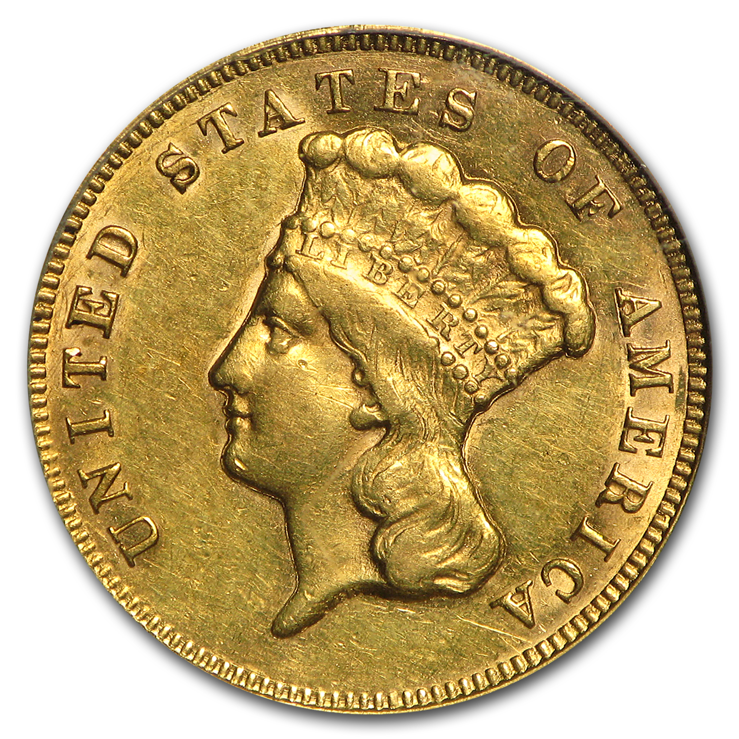1874 $3 Gold Princess AU-53 PCGS