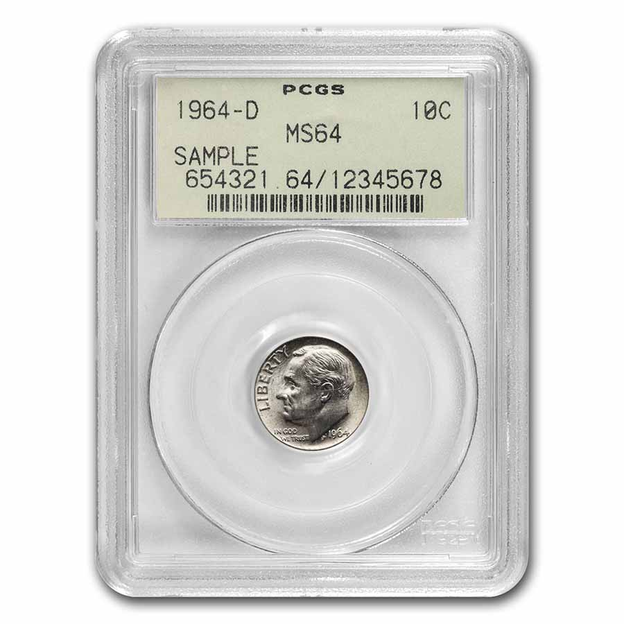 1964-D Roosevelt Dime MS-64 PCGS (Rare Sample Slab)