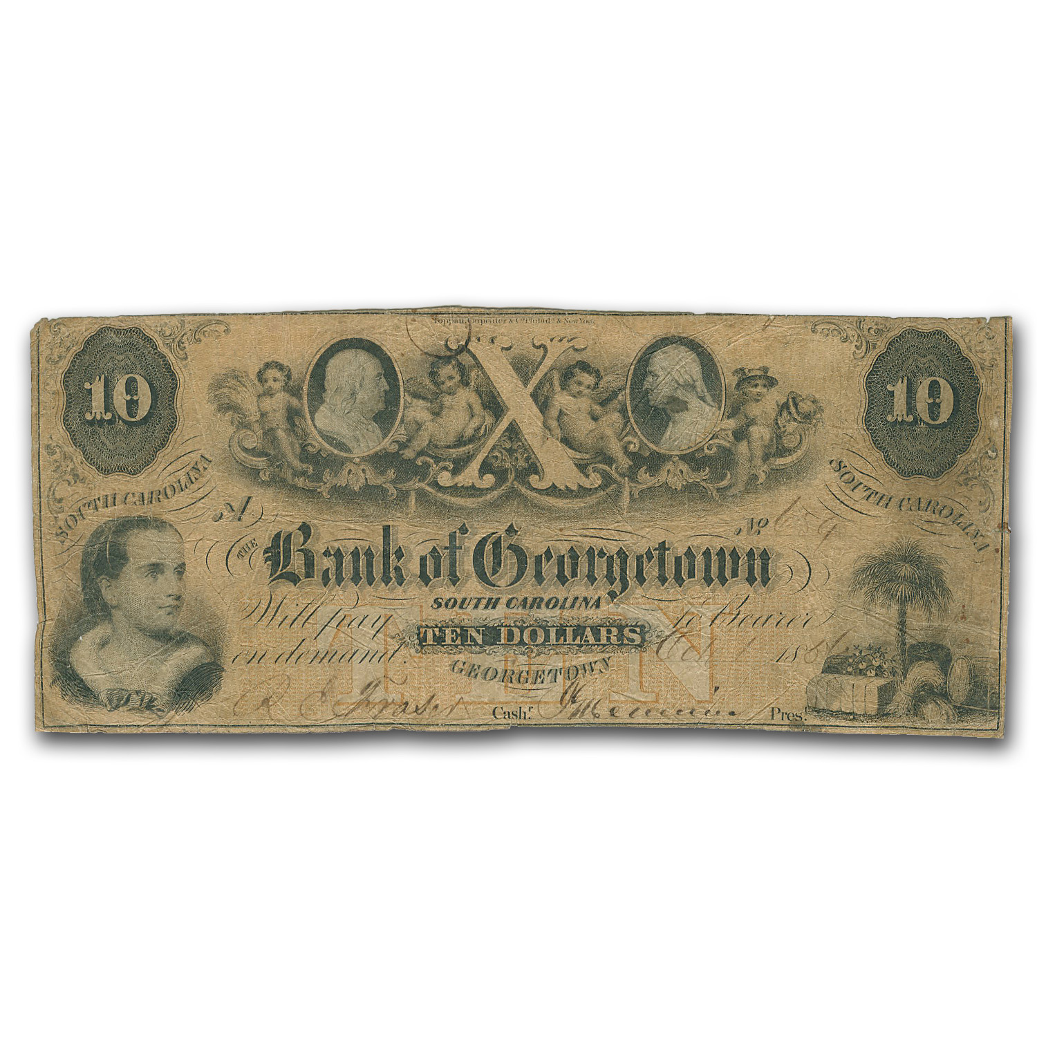 1854 Bank of Georgetown, South Carolina $10 SC-80 Fine/VF