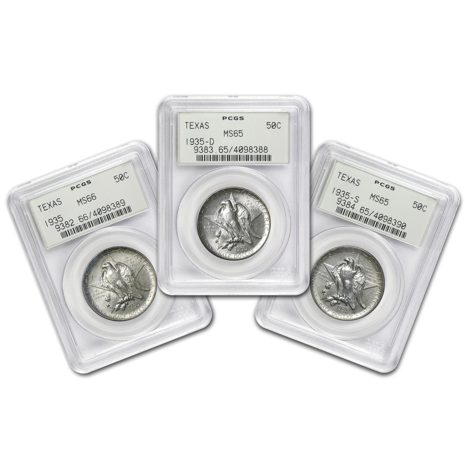 1935 PDS Texas Half Dollar Set MS-65/66 PCGS (Old Green Holders)