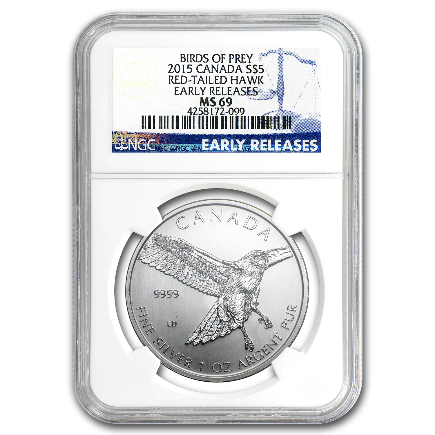 2015 RCM 1 oz Silver Birds of Prey Red Tailed Hawk MS-69 NGC