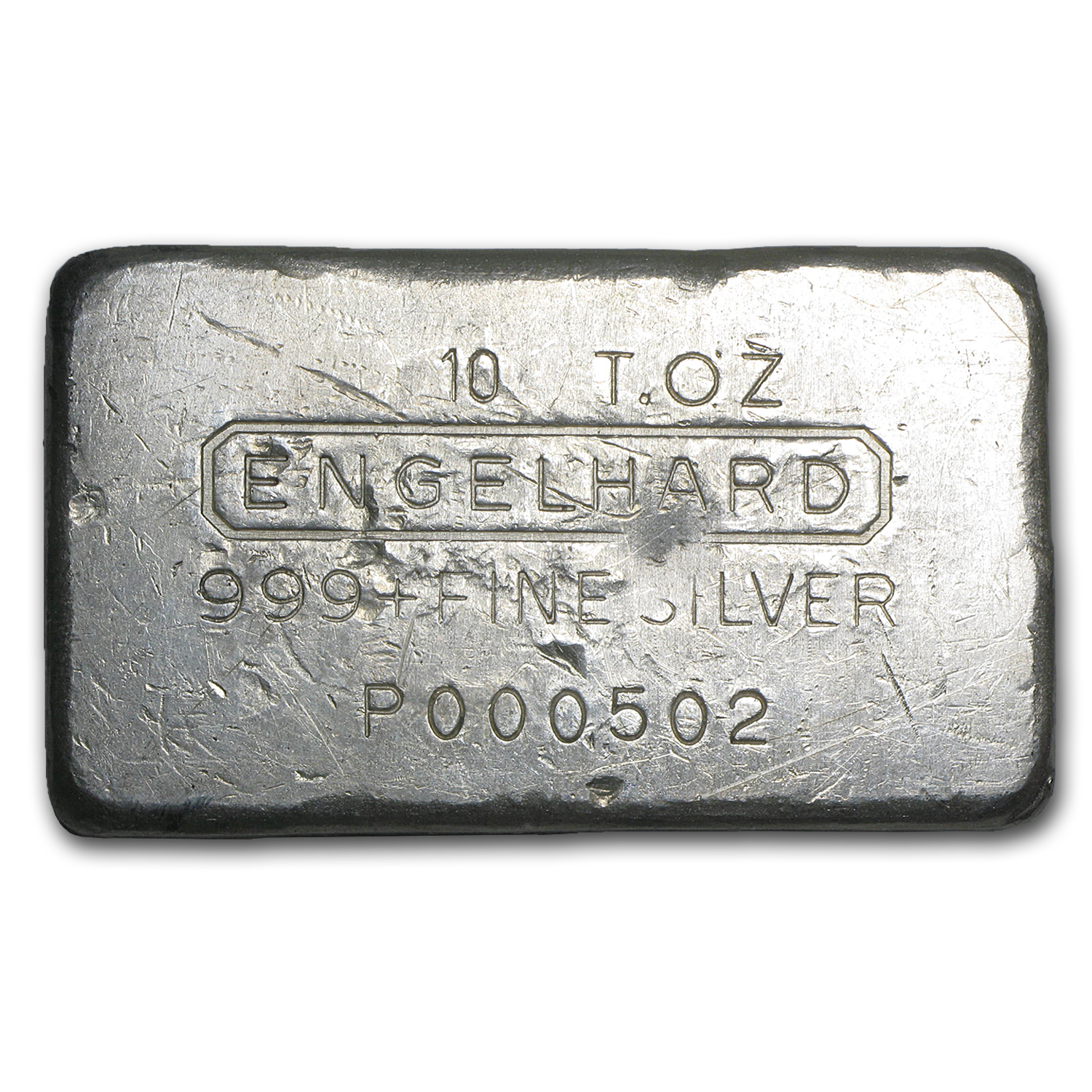 10 oz Silver Bar - Engelhard (Wide/Poured/Low Serial #502)