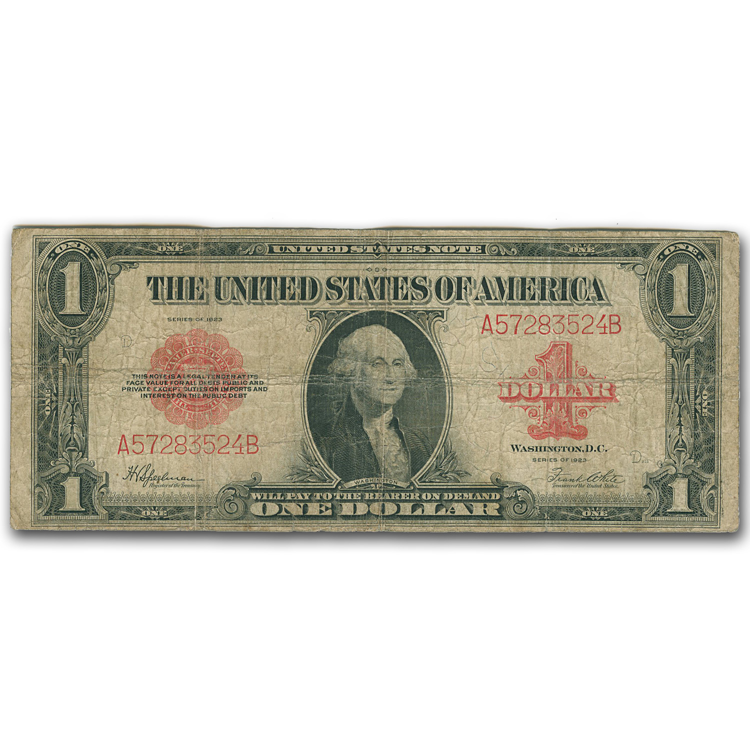 1923 $1.00 Legal Tender Red Seal VG