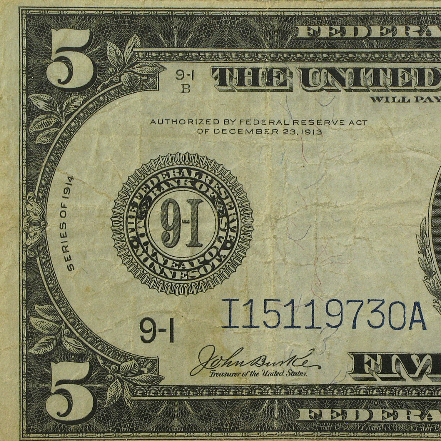 1914 (I-Minneapolis) $5.00 FRN VF