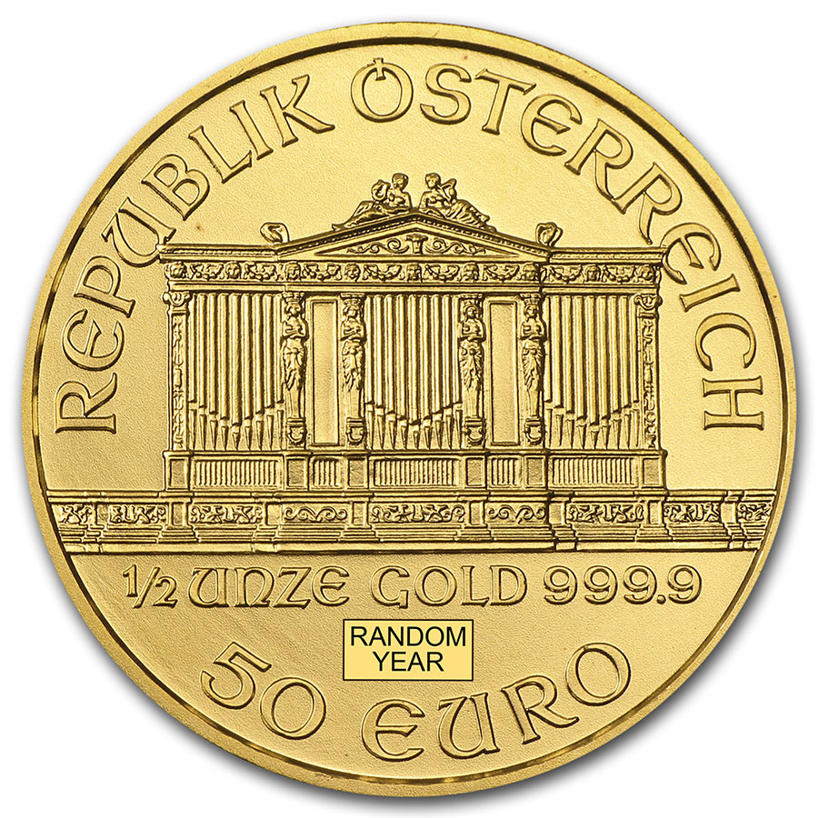 1/2 oz Gold Austrian Philharmonic (Random Years)