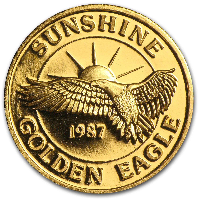 1 Oz Gold Round Sunshine Minting Mining Golden Eagle