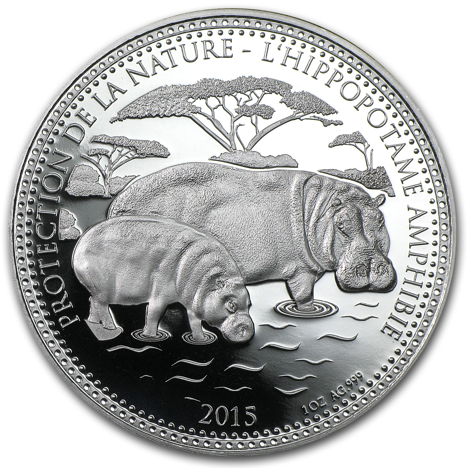 2015 Republic of Chad 1 oz Silver Protection De La Nature Hippo