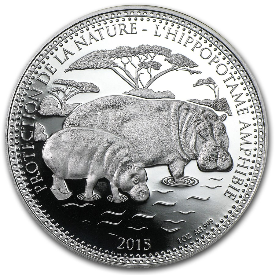 2015 Republic Of Chad 1 Oz Silver De La Nature Hippo