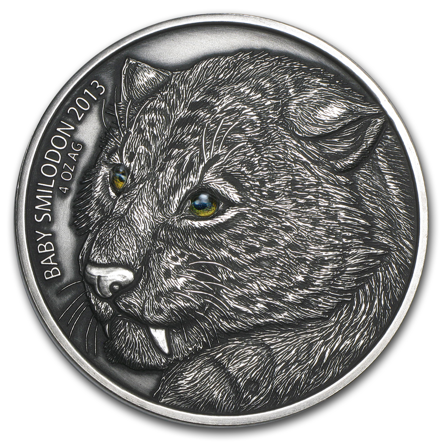 2013 Burkina Faso 4 oz Silver Saber Toothed Tiger (Baby Smilodon)