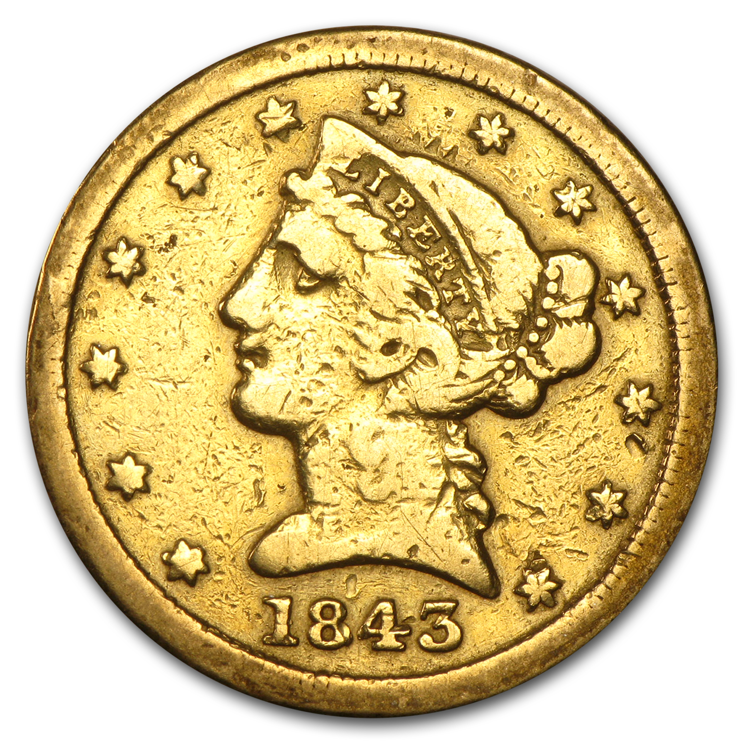 1843-C $5 Liberty Gold Half Eagle VG Details (Cleaned)