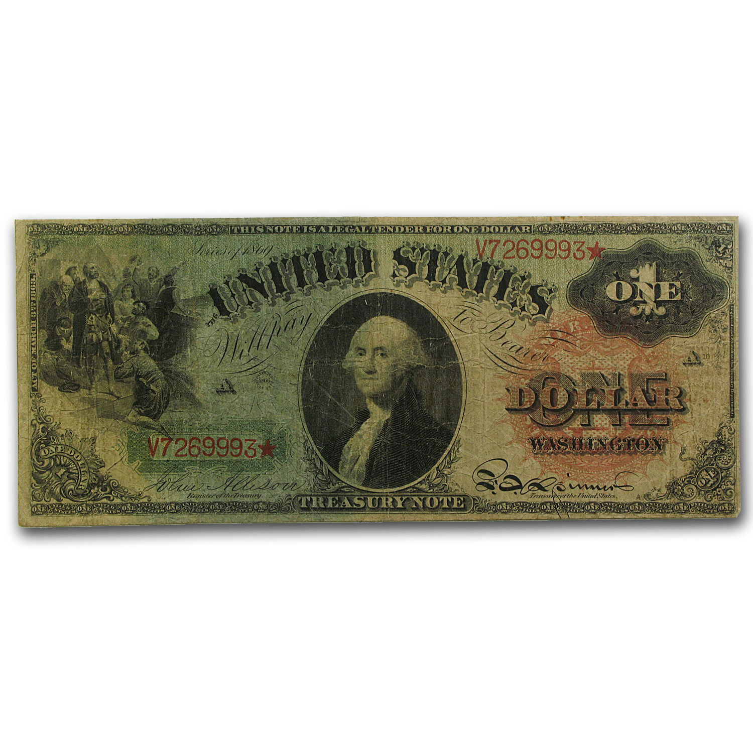 1869 $1.00 Legal Tender Washington Fine+