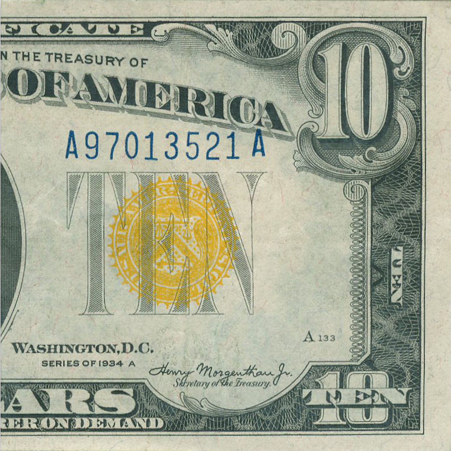1934-A $10 Silver Certificate Yellow Seal-North Africa XF