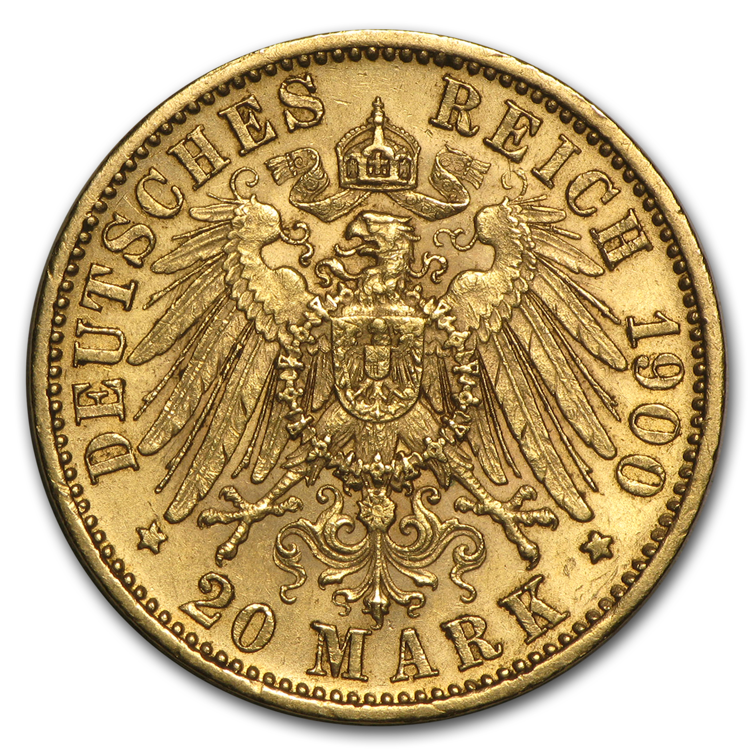 1894-1914 Germany Gold 20 Mark Wuerttemberg Wilhelm II Avg Circ