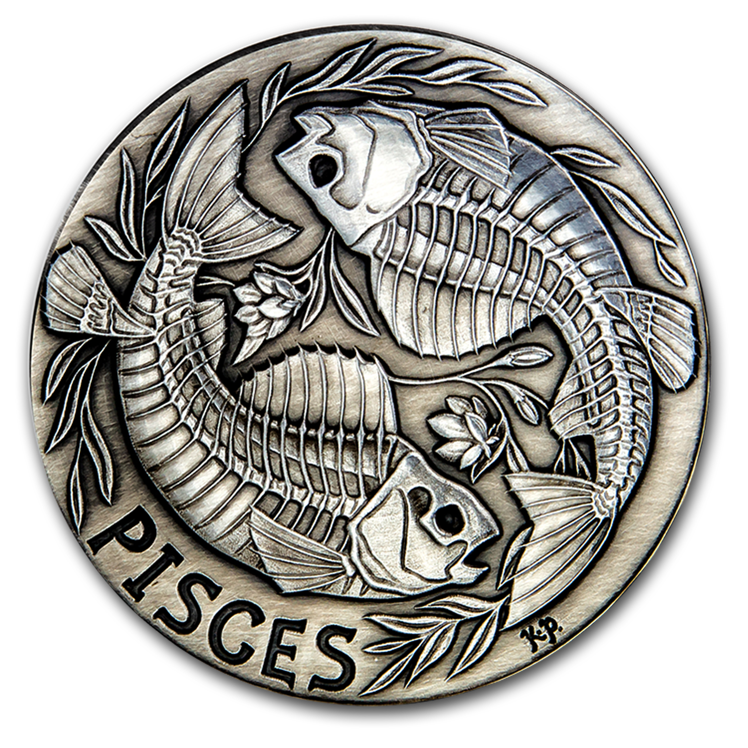 1 oz Silver Antique Round - Zodiac Skull Series (Pisces)