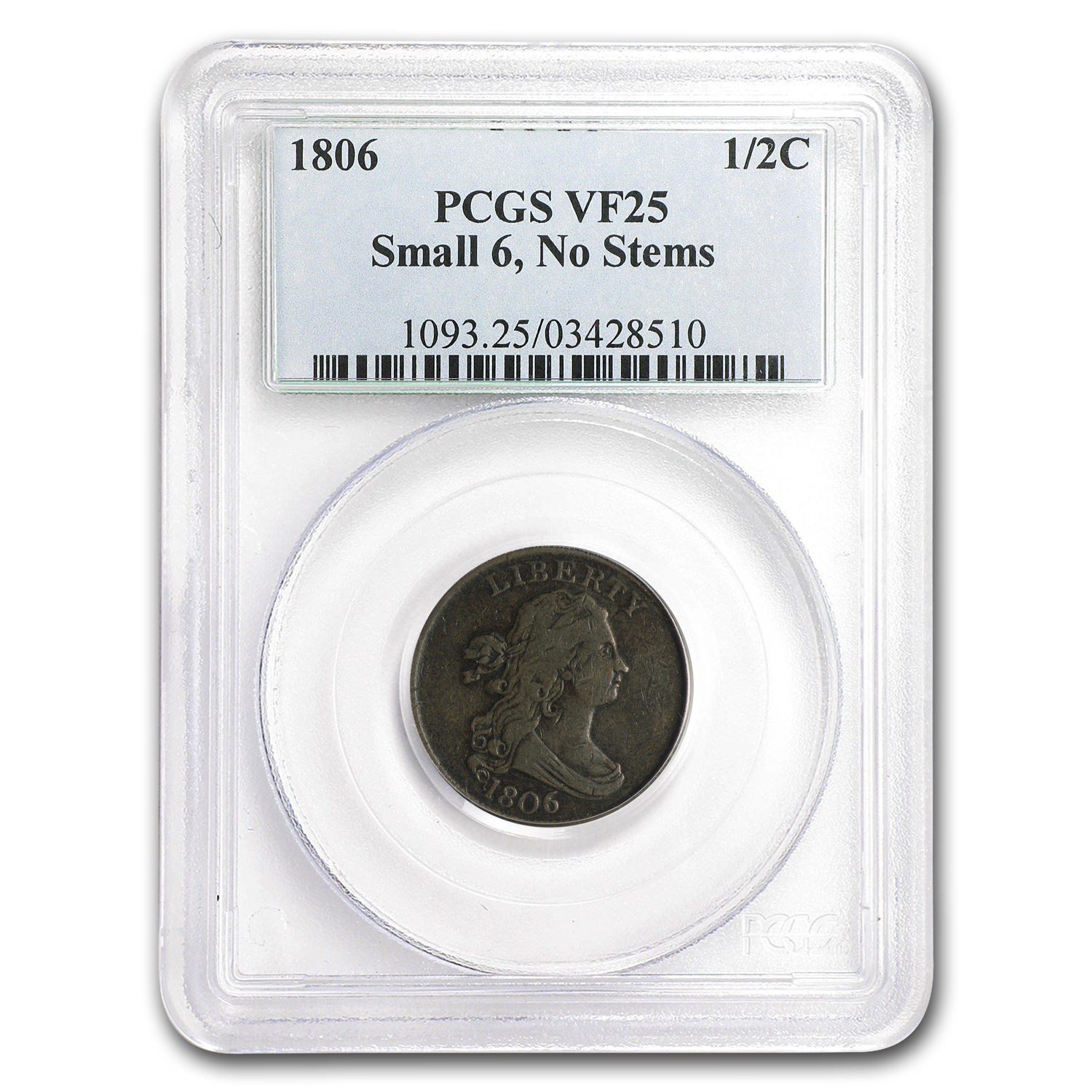 1806 Half Cent Small 6 Stemless VF-25 PCGS