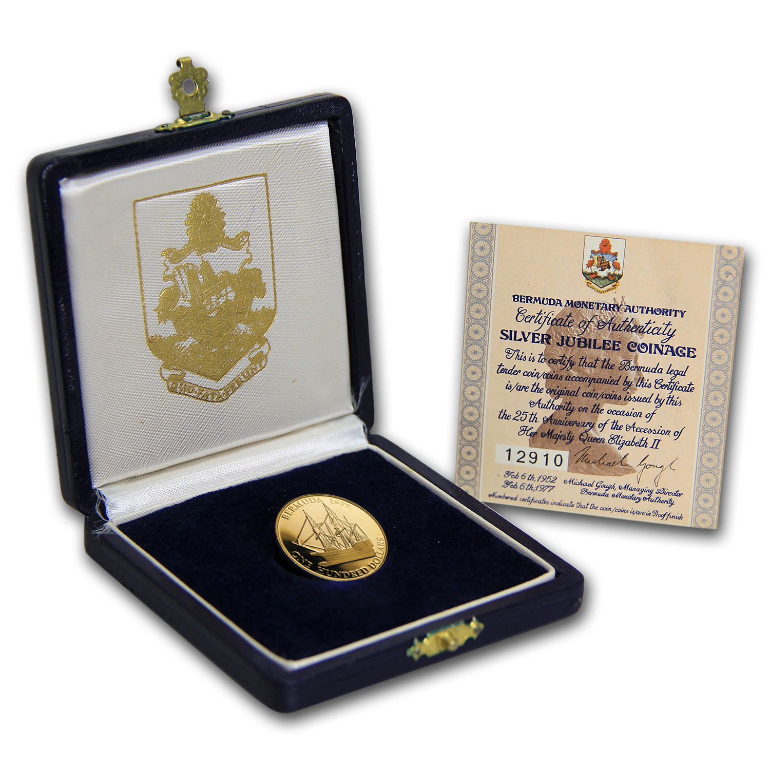 Bermuda 1977 $100 Gold Proof Queen's Silver Jubilee