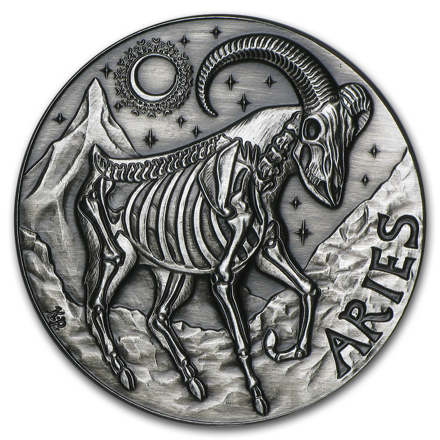1 oz Silver Antique Round - Zodiac Skull Series (Aries)