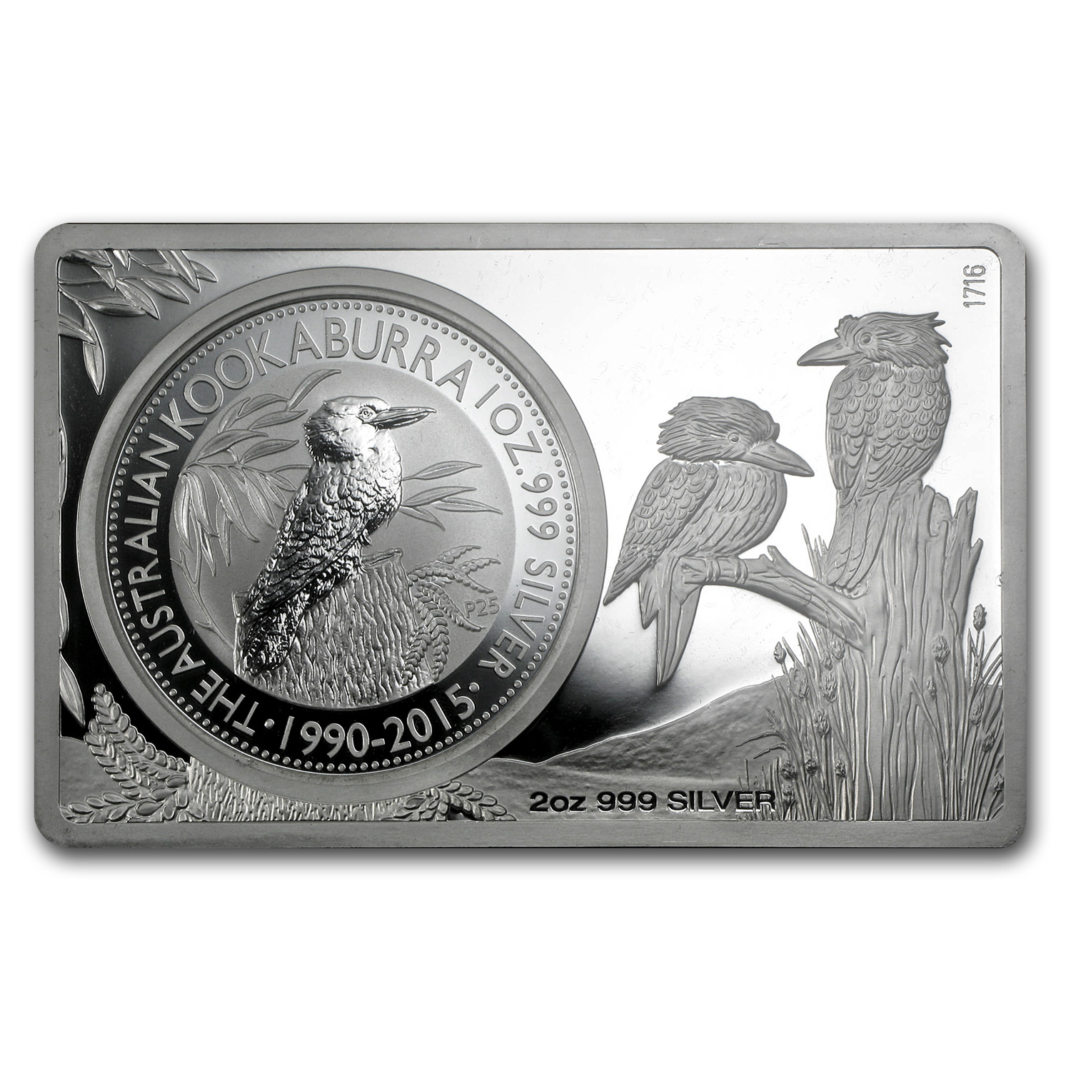 2015 2-Pc Silver Bar & Coin Set (25th Ann of Kookaburra)