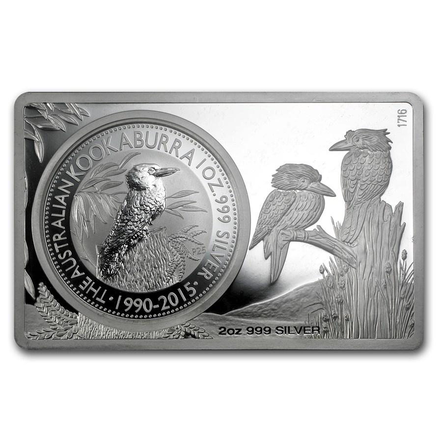 2015 2 Pc Silver Bar Amp Coin Set 25th Ann Of Kookaburra