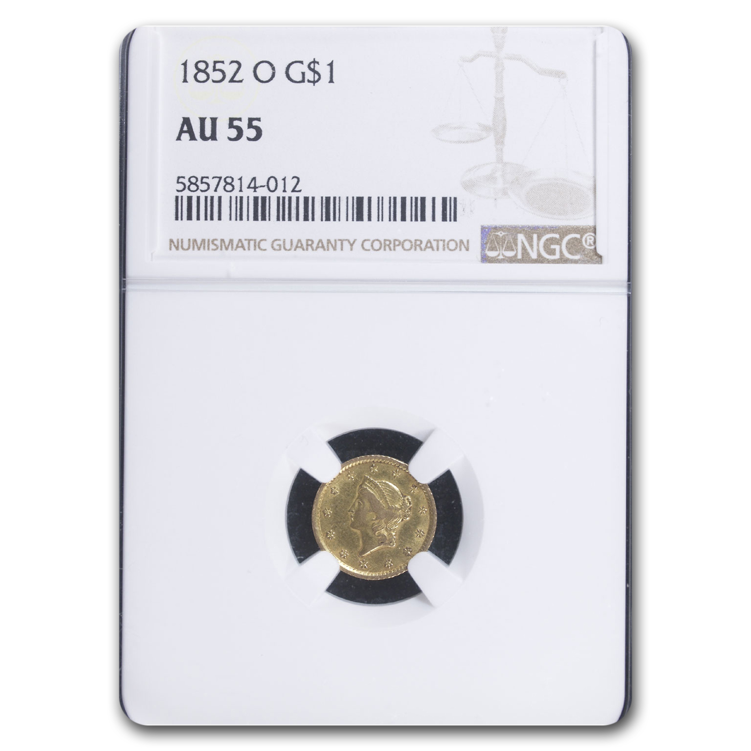 1852-O $1 Liberty Head Gold AU-55 NGC