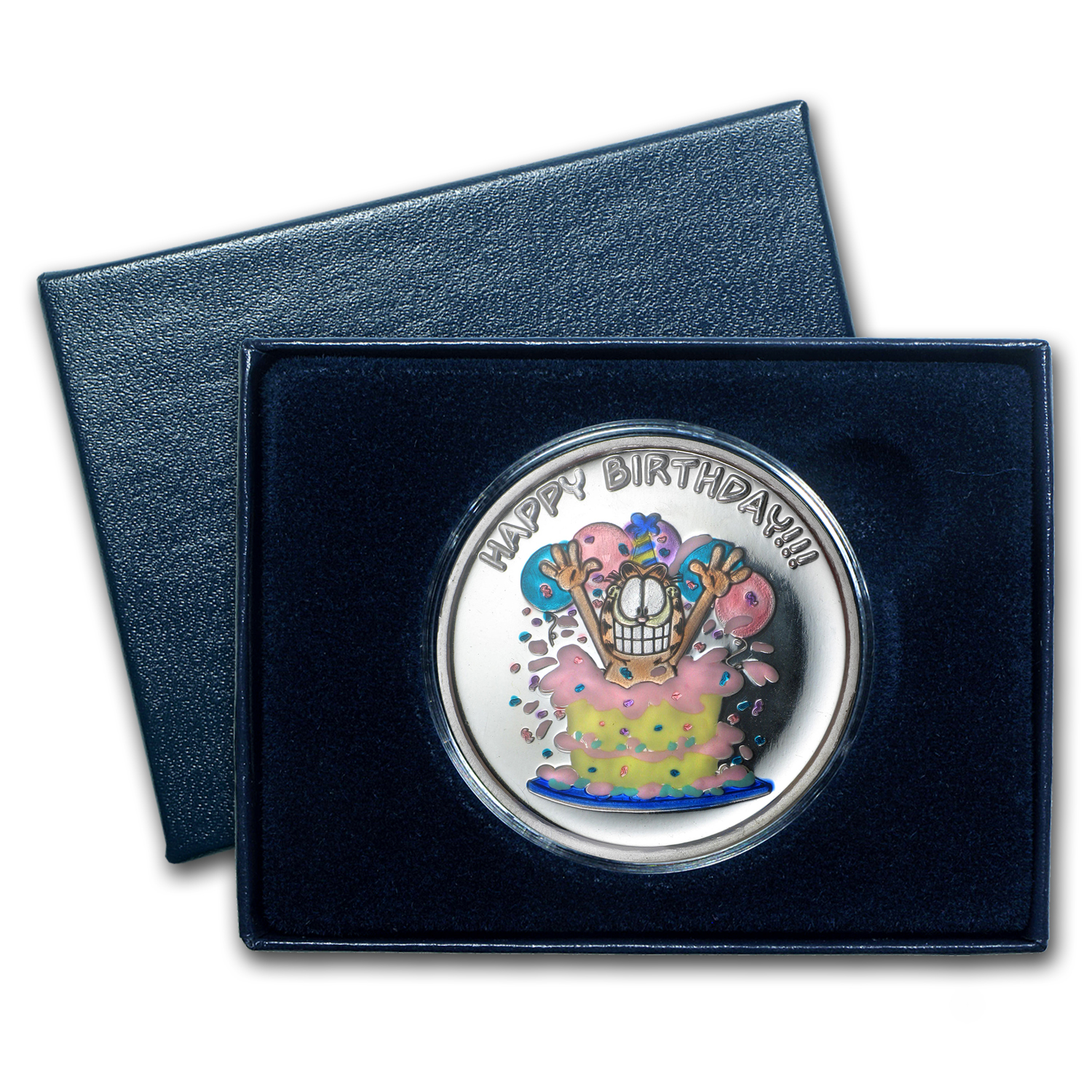1 oz Silver Rnd - Happy Birthday Garfield (Enameled, w/Box & Cap)