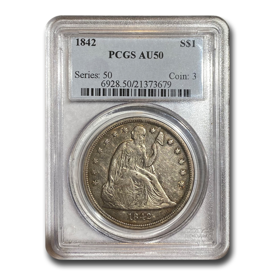 1842 Liberty Seated Dollar AU-50 PCGS