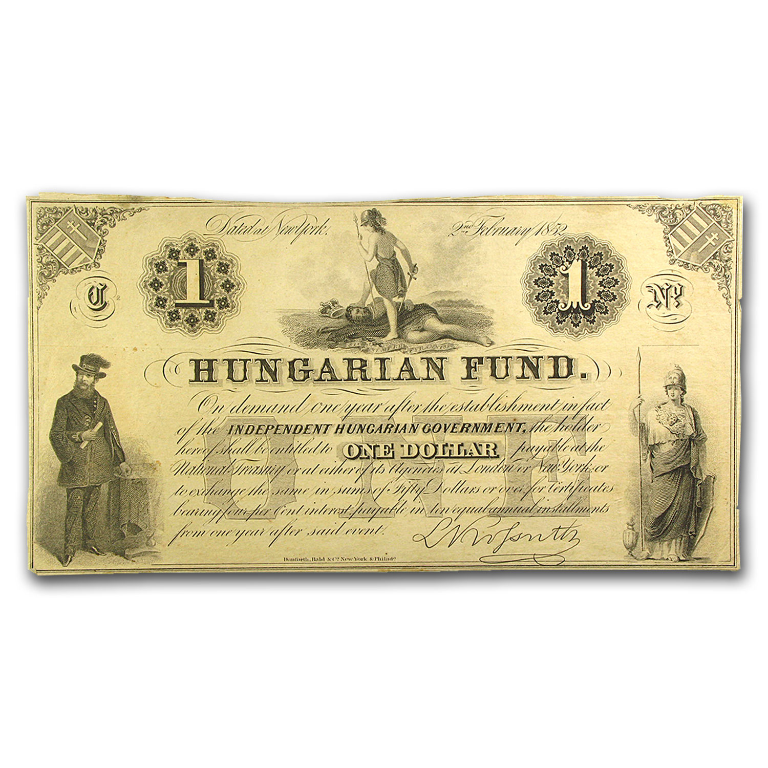 1852 Independent Hungarian Fund, New York $1 Note Kossuth Signed