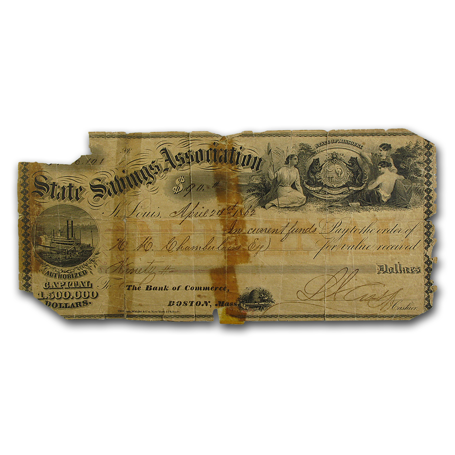 1862 State Savings Assocation of Missouri $90.00