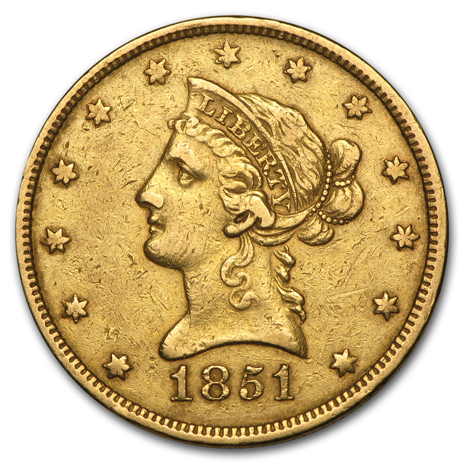 1851 $10 Liberty Gold Eagle VF