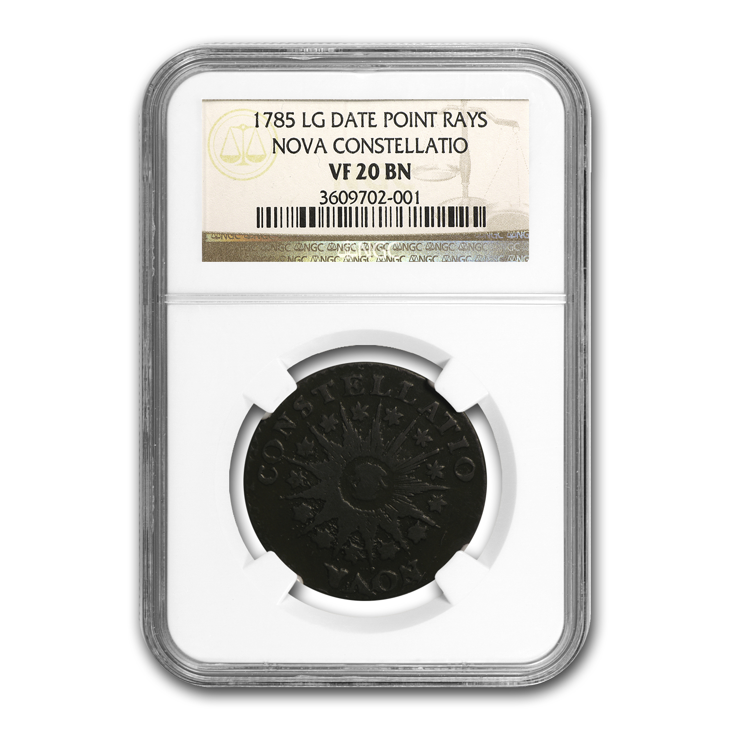 1785 Nova Constellatio Large Date, Pointed Rays VF-30 (BN) NGC