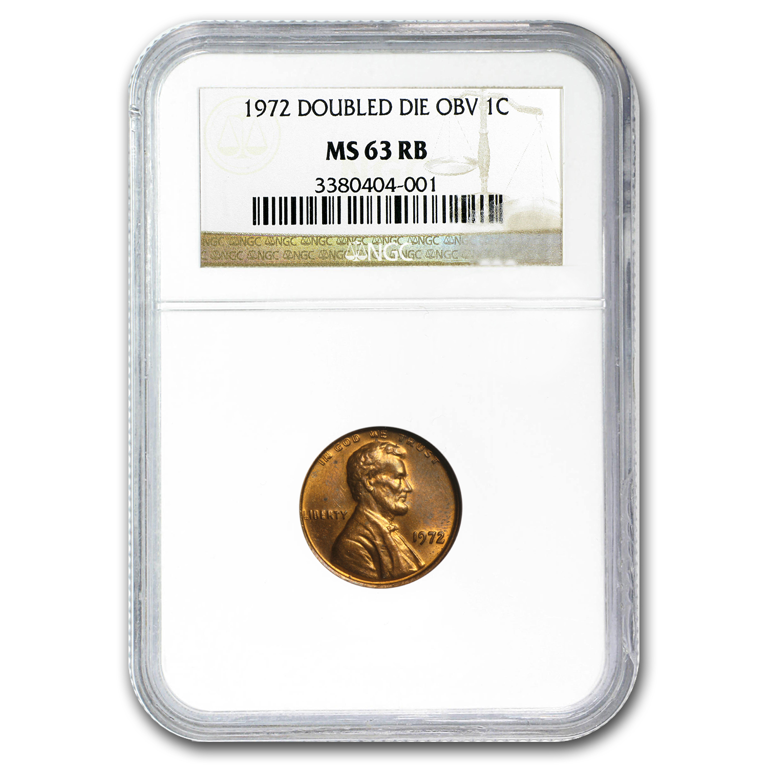 1972 Lincoln Cent Double Die Obverse MS-63 NGC (Red/Brown)