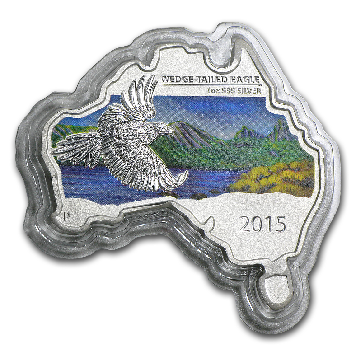 2015 Australia 1 oz Silver Wedge-Tailed Eagle (Map Shape)