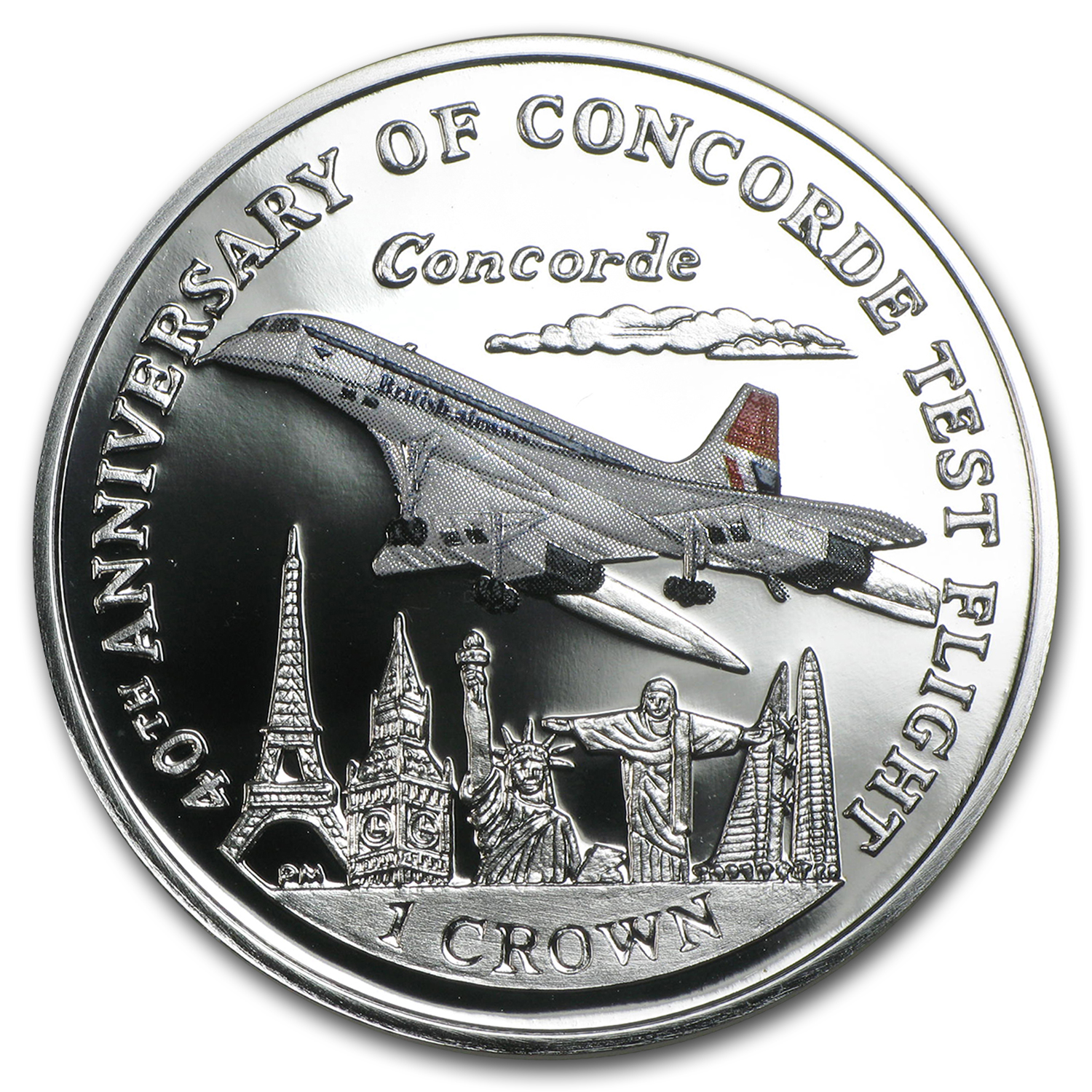 2009 Isle of Man 1 Crown Silver Concorde Proof (Colorized)