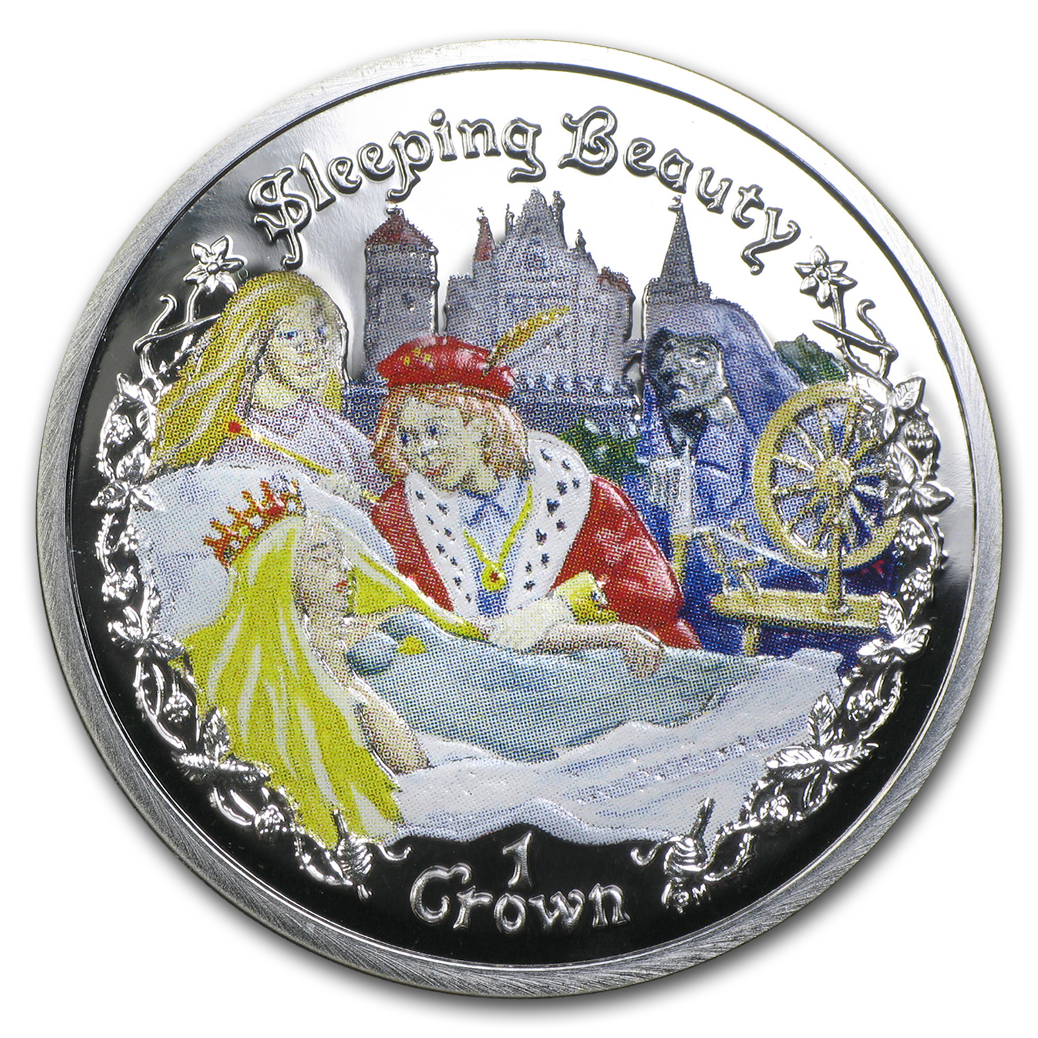 2007 Isle of Man 1 Crown Sleeping Beauty Proof (Colorized)