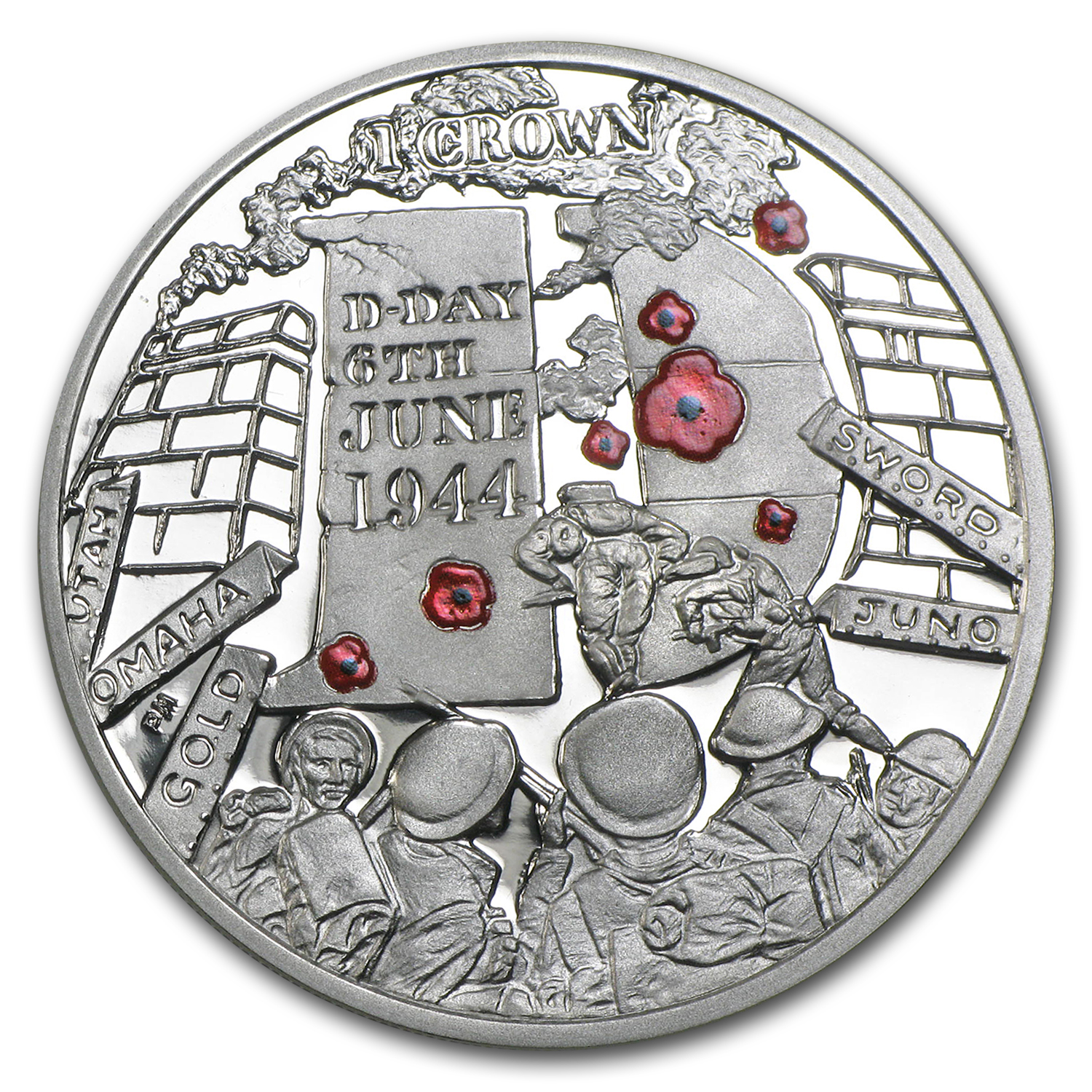 2014 Isle of Man 1 oz 70th Anniv D-Day Proof (Colorized)
