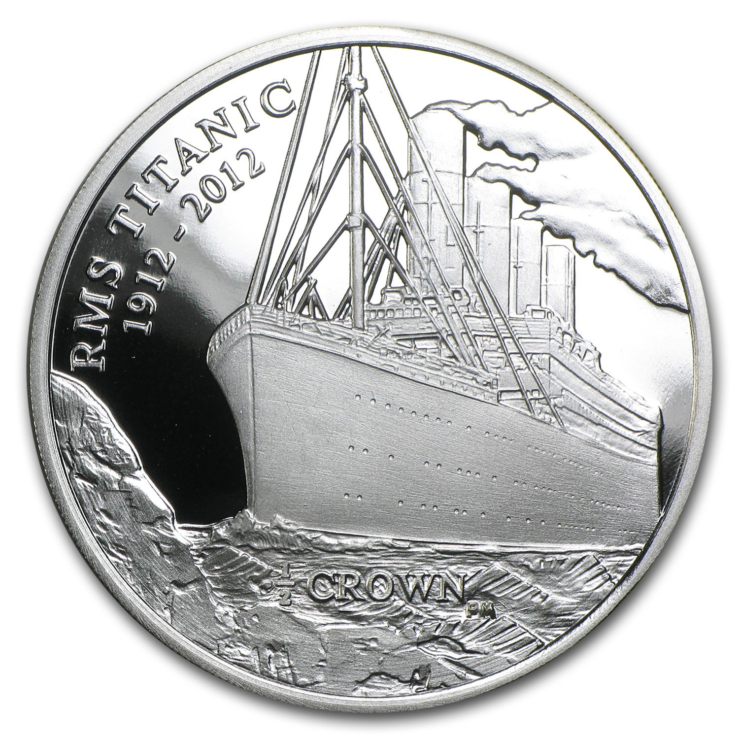 2012 Isle of Man 1/2 Crown Silver Titanic at Sea Proof