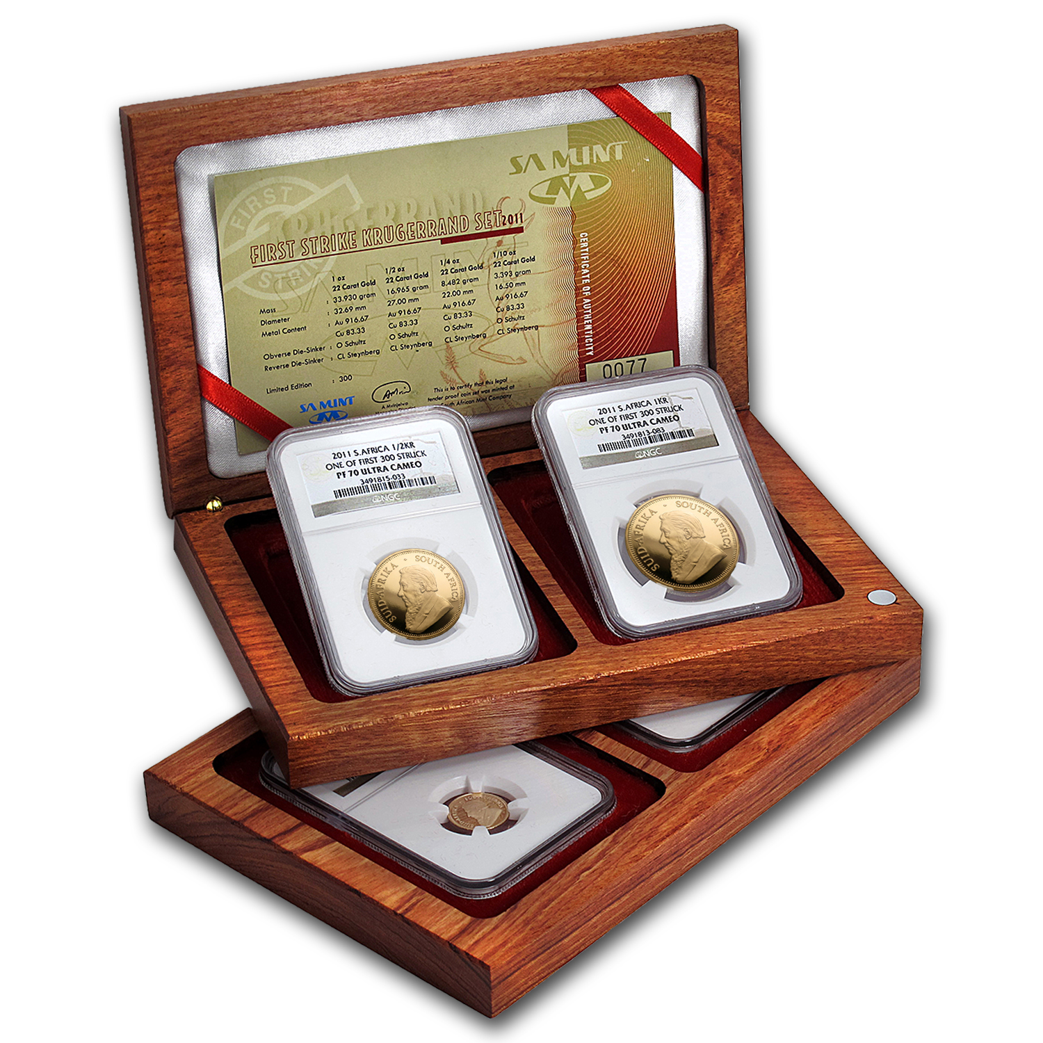 2011 South Africa 4-Coin Gold Krugerrand Proof Set PF-70 NGC (FS)