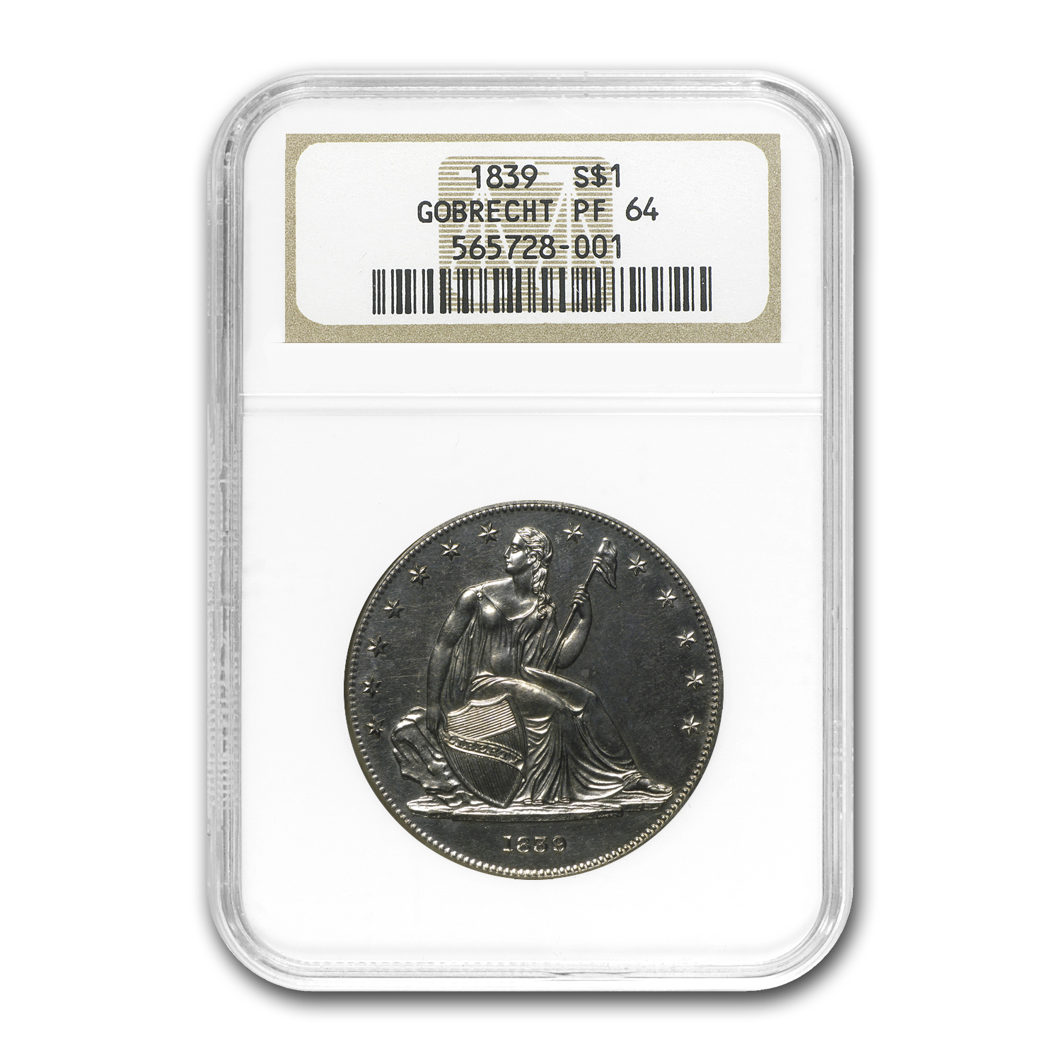1839 Gobrecht Liberty Seated Dollar Proof-64 NGC