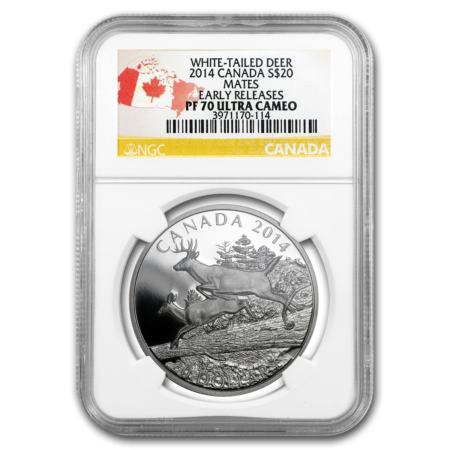 2014 Canada 1 oz Silver $20 White-Tailed Deer PF-70 (Mates)