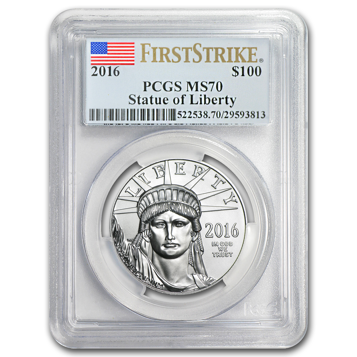 2016 1 oz Platinum American Eagle MS-70 PCGS (First Strike)