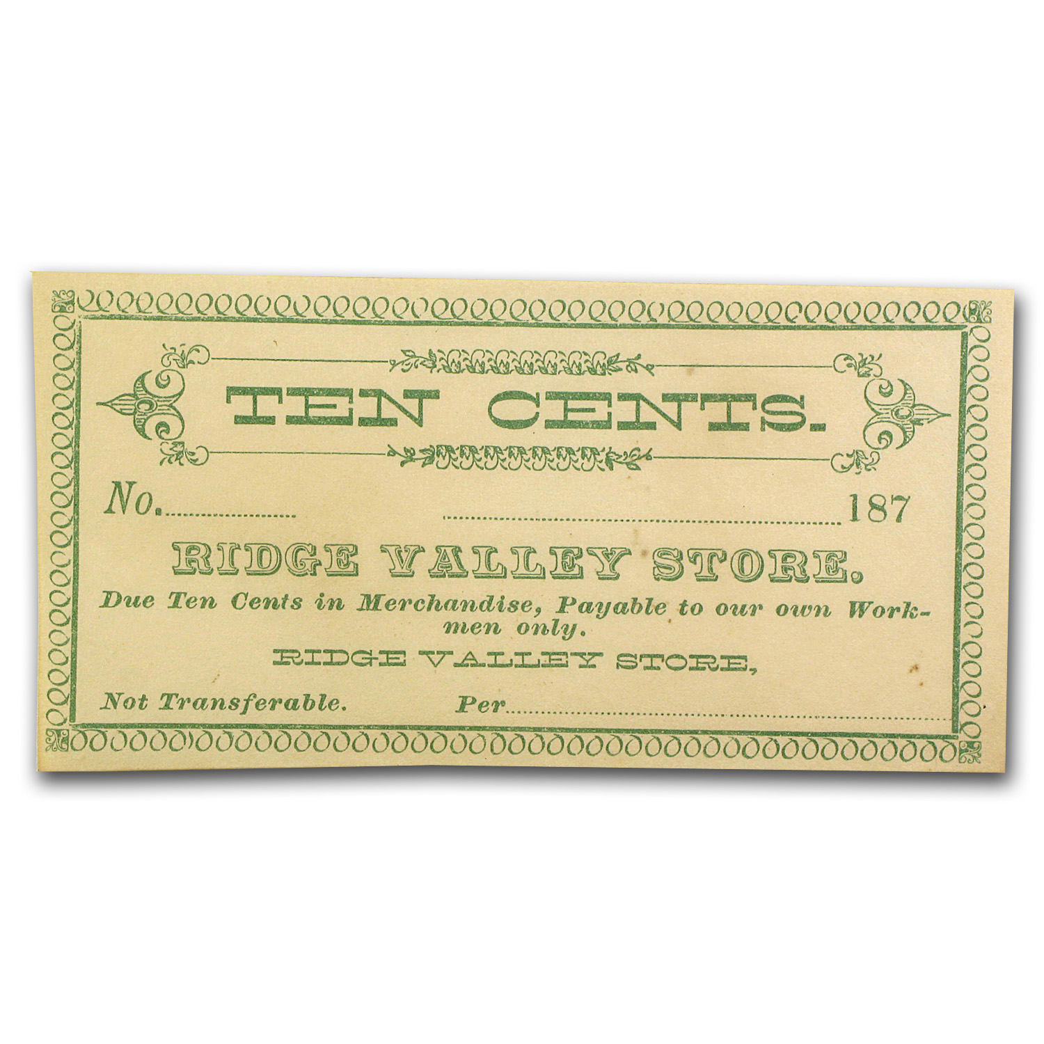 1870s Ridge Valley Store 10 Cents Scrip Note