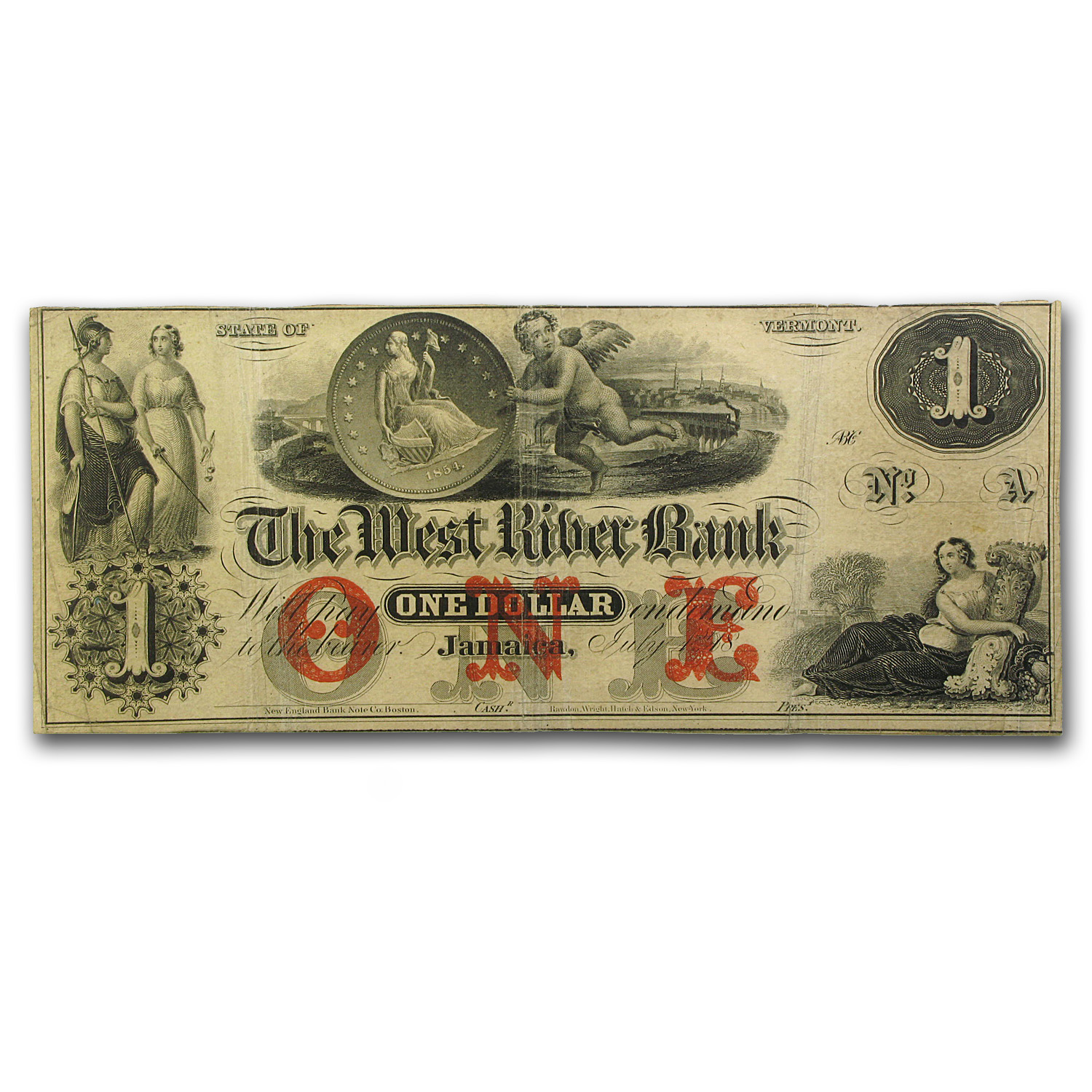 18__ The West River Bank, Jamaica, VT $1.00 Note VT-115 VF+