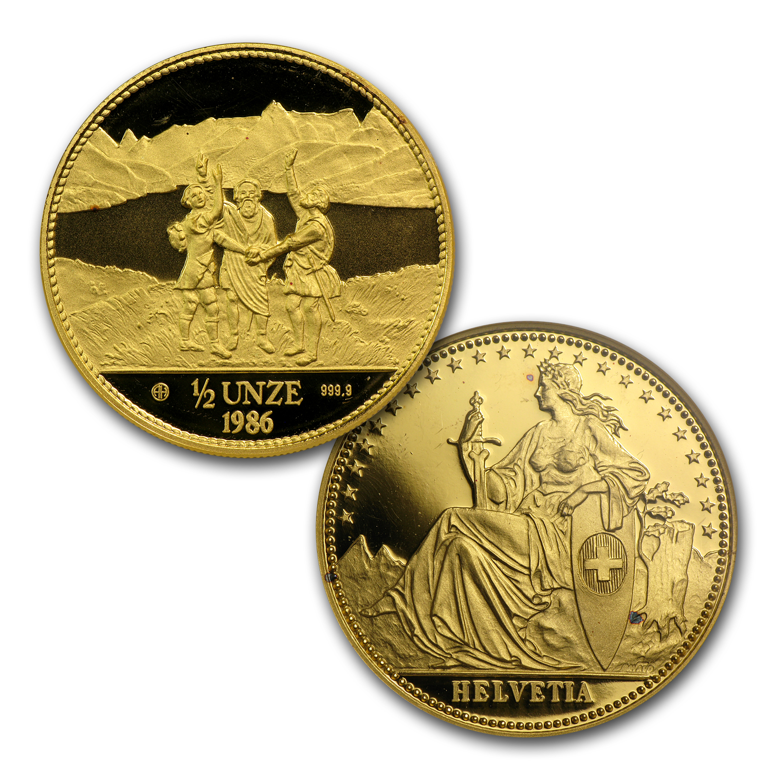 1986 Switzerland 4-Coin Gold Proof Set Eternal Pact (AGW 1.85)
