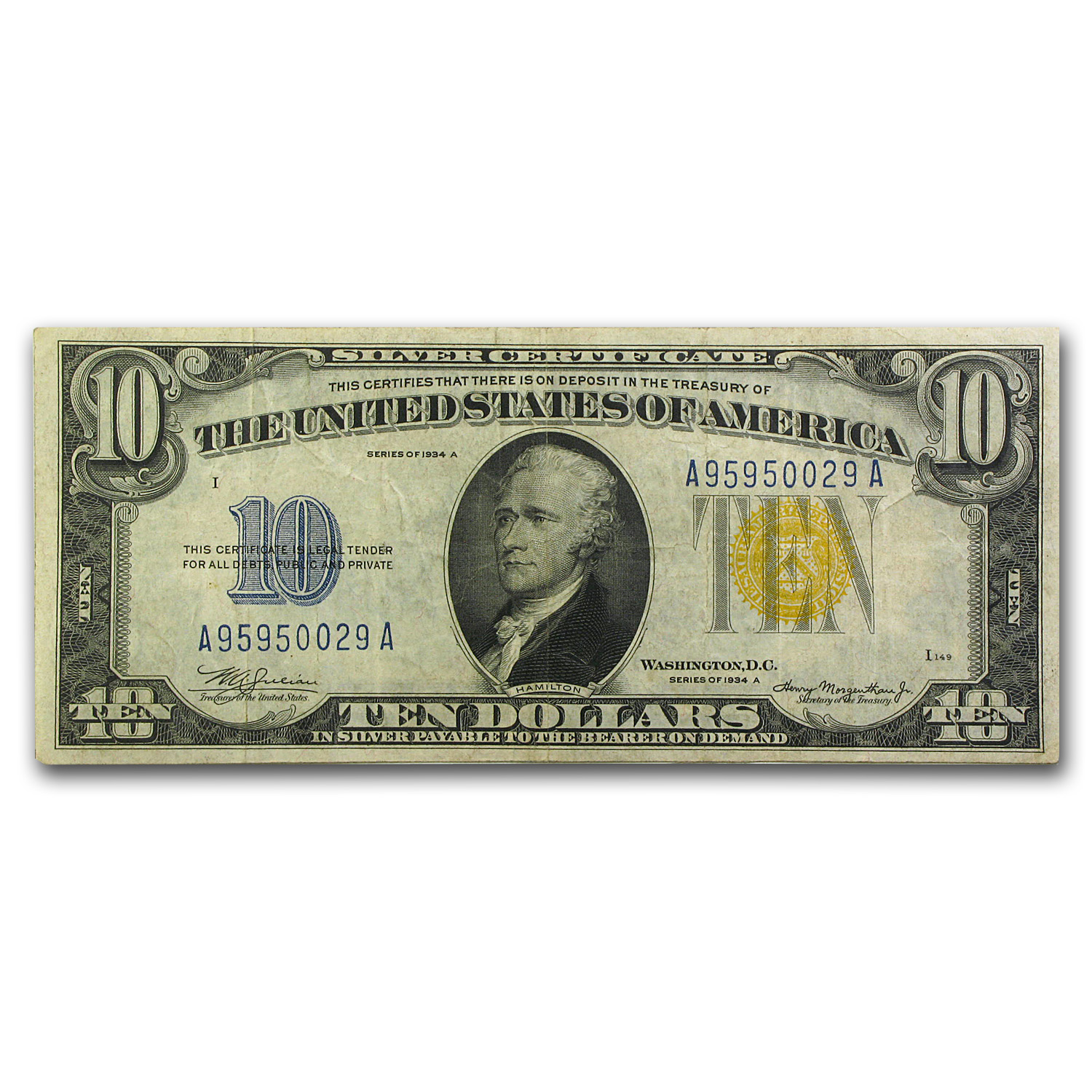 1934-A $10 Silver Certificate Yellow Seal-North Africa VF+